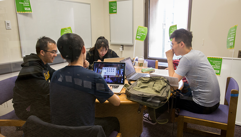 Students utilizing a Gelman Library Study Room