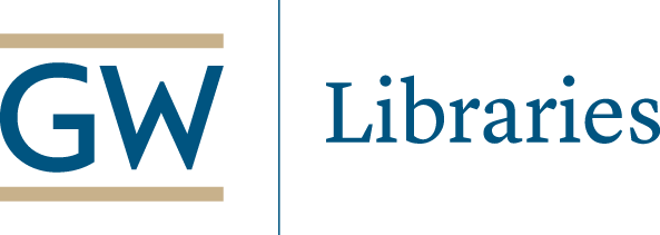 GW Libraries logo buff and blue