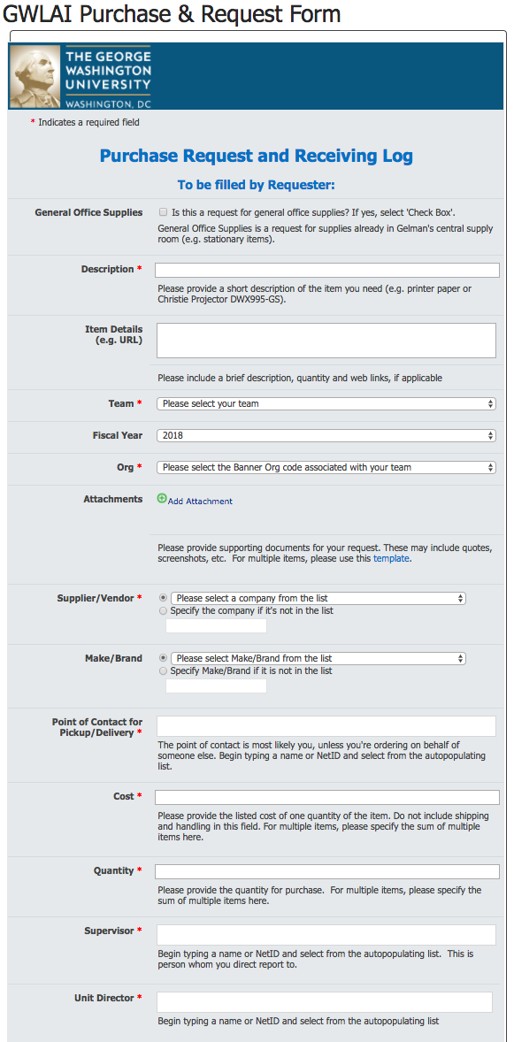 Screenshot of the Purchase Request Form
