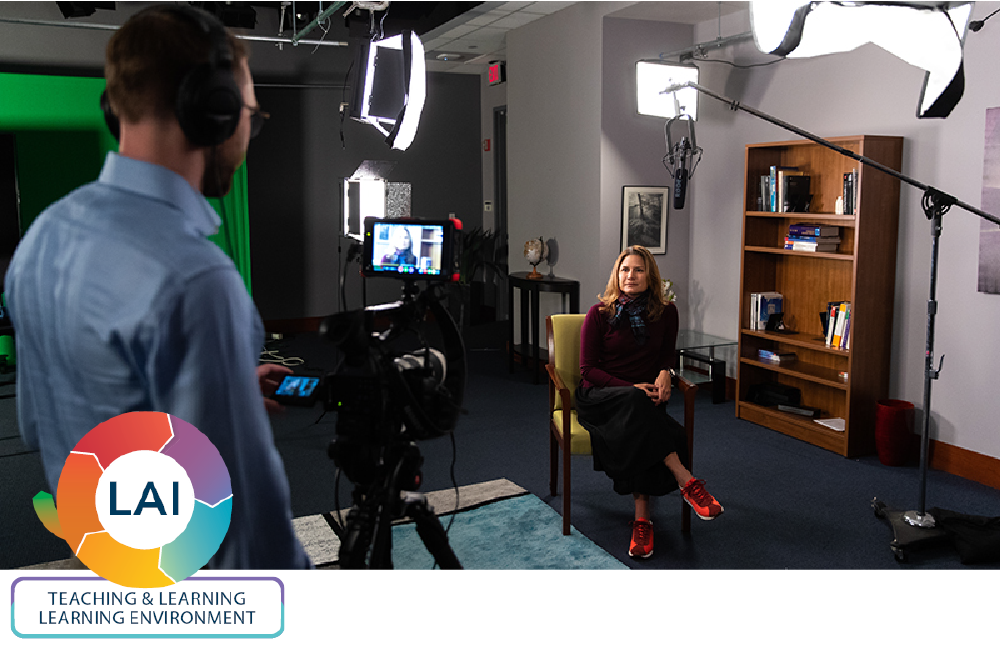 Professor Ariadna Pichs films a lecture for her online course, developed with the help of the team of online learning specialists at GWLAI. (Harrison Jones, CCAS '19/the George Washington University)