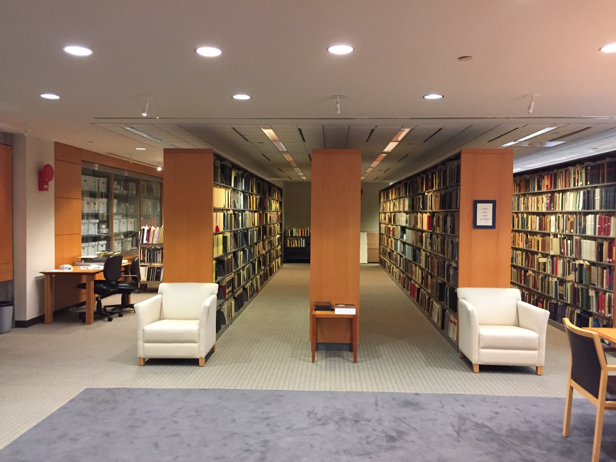 Gelman Library academic event space room 710 view of stacks