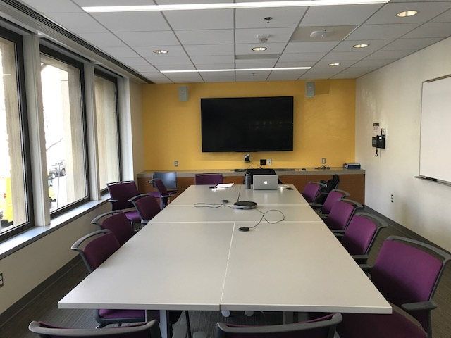 Gelman Library Academic Event and Study Room 218A Tables Chairs and LCD screen