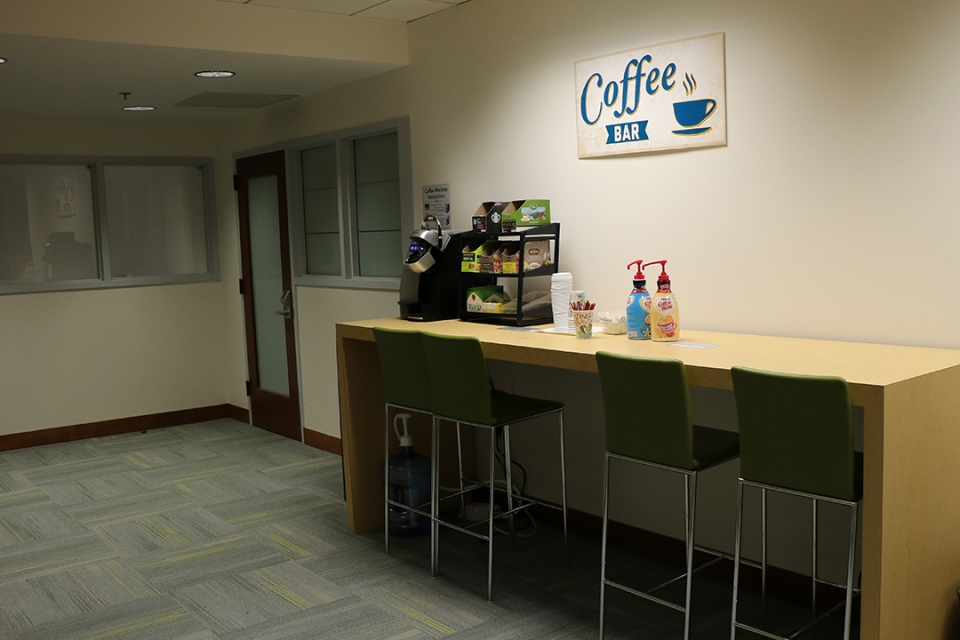 Coffee bar in the faculty lounge