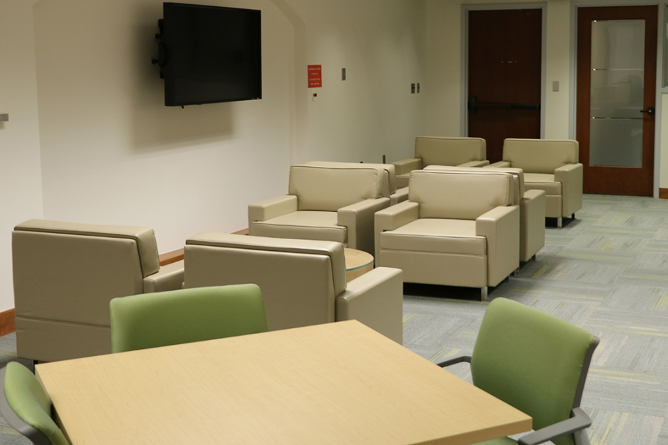 Seating area in the faculty lounge