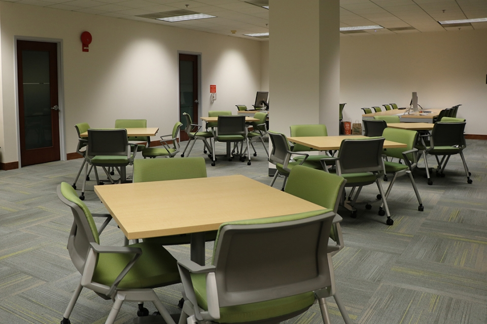 Moveable tables and chairs in the faculty lounge