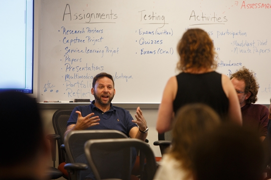 Faculty members interact at CDI